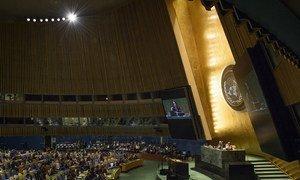 9月18日,联合国大会第73届会议主席埃斯皮诺萨(右)在纽约联合国总部宣布会议开幕。