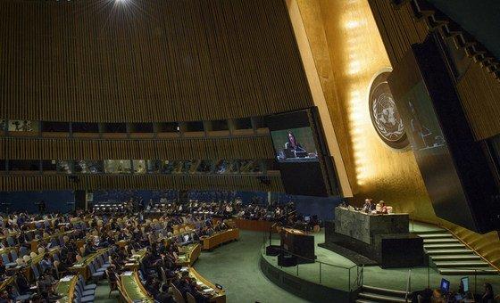 Ouverture de la 73e session de l'Assemblée générale des Nations Unies par la Présidente de cet organe, Maria Fernanda Espinosa.
