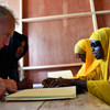 The UN Secretary-General's Special Representative for Somalia, Michael Keating, interacts with blind students during his visit to the Al-Noor School for the Blind in Mogadishu, Somalia, on 9 September 2018.
