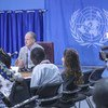 The UN Special Representative of the Secretary-General for South Sudan, David Shearer (c), updates the media in Juba on 19 September 2018, following the signing of a revitalised peace agreement between warring parties in the country.
