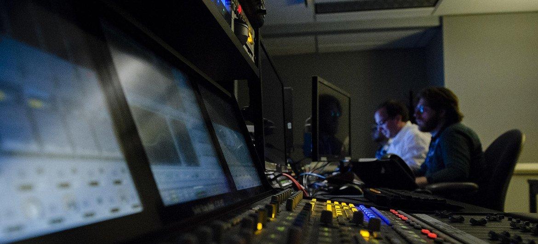 Técnicos de televisión supervisar el foro de alto nivel de Desarrollo Sostenible. (Archivo 2017)