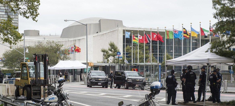 Medidas de seguridad fuera del edificio de la ONU en Nueva York durante el debate general en 2017.