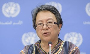 Victoria Tauli-Corpuz, Special Rapporteur on the rights of indigenous peoples, at a press briefing on indigenous peoples' collective rights to lands, territories and natural resources on 16 April 2018, at UN Headquarters in New York.