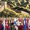 联合国纽约总部内悬挂着中国代表团1974年10月赠送的挂毯,挂毯描绘了中国绵延数英里的雄伟的长城。