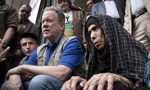 世界粮食计划署负责人比斯利访问也门萨那。这场世界上最严重的饥饿危机已经持续了至少一年。