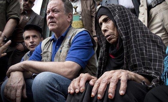 David Beasley, Chefe do Programa Mundial de Alimentos, em visita Sanaa, capital do Iémen