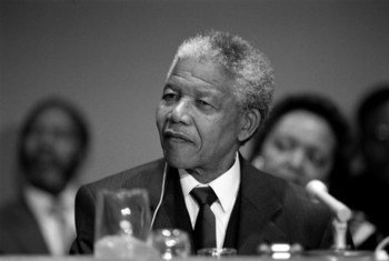 Nelson Mandela, the former President of South Africa, addresses a press conference at UN Headquarters in New York in December 1991.