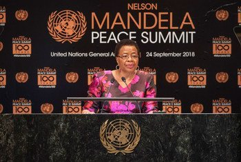Membro dos The Elders e viúva de Nelson Mandela, Graça Manchel falou na Cimeira de Paz Mandela, em Nova Iorque.