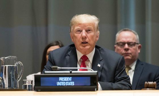 Presidente dos Estados Unidos, Donald Trump, em evento organizado pelo seu país sobre narcóticos.