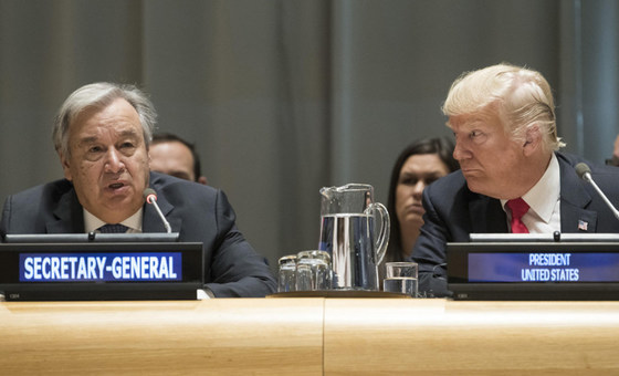 Secretary-General António Guterres (left) and US President Donald Trump (right) at a High-level Event on Counter Narcotics, convened by the United States, at UN Headquarters in New York, on 24 September 2018.