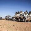 (من الأرشيف) فريق مرافقة من قسم الحوكمة والاستقرار المجتمعي في يوناميد وهو في طريقه إلى منطقة بيركا ، شمال دارفور، من أجل عقد مؤتمر سلام للمزارعين والرعاة في 2 فبراير 2018.