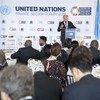 Le Secrétaire général de l'ONU, António Guterres, s'exprimant au Forum des Nations Unies sur le secteur privé, au siège des Nations Unies à New York, le 24 septembre 2018.