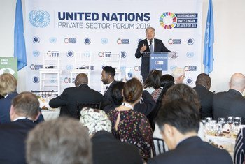 Secretary-General António Guterres speaking at the United Nations Private Sector Forum 2018, at UN Headquarters in New York, on 24 September 2018.