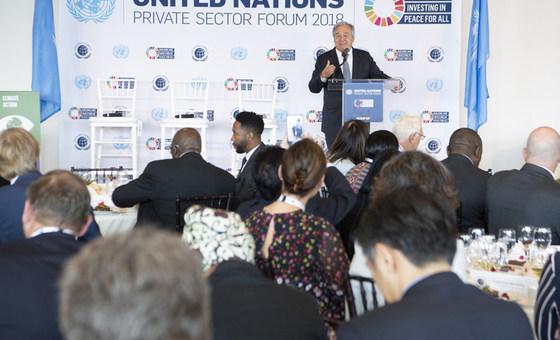 2018年9月24日,联合国秘书长古特雷斯在《联合国全球契约》领袖峰会私营部门论坛上发表讲话。