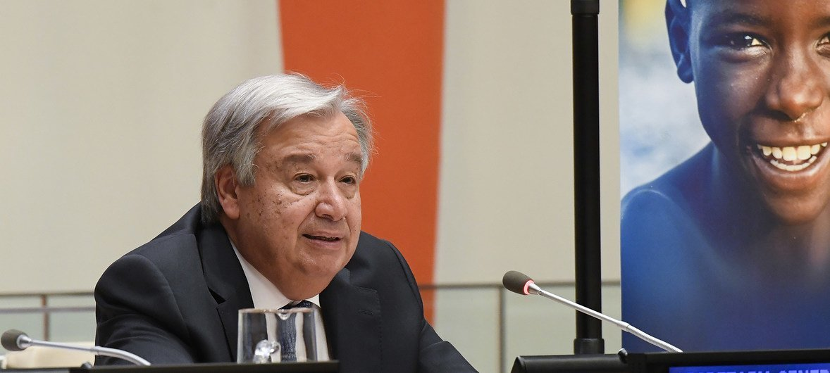 Secretary-General António Guterres speaking at the High-Level Meeting on Financing the 2030 Agenda for Sustainable Development, at UN Headquarters in New York, on 24 September 2018.