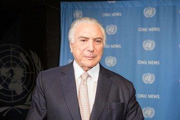 Presidente do Brasil, Michel Temer, nos estúdios da ONU News.