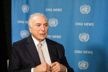 Presidente do Brasil, Michel Temer, na ONU.