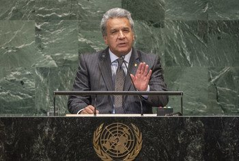 Constitutional President Lenin Moreno Garcés of Ecuador addresses the seventy-third session of the United Nations General Assembly.