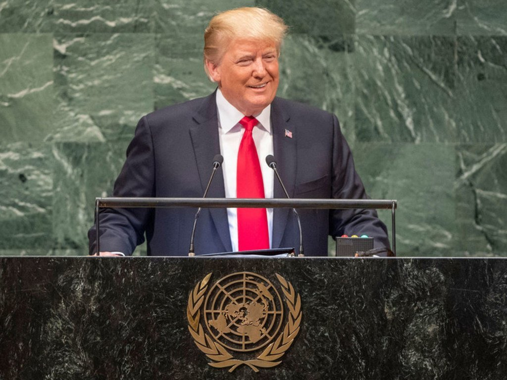 美国总统特朗普在第73届联合国大会高级别一般性辩论上发表讲话。