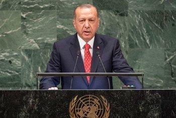 الرئيس التركي رجب طيب أردوغان خلال حديثه أمام مداولات الجمعية العامة.