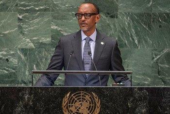 Rais Paul Kagame wa Rwanda akihutubia mjadala mkuu wa Baraza Kuu la Umoja wa Mataifa jijini New York, Marekani tarehe 25 Septemba 2018