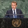 President Emmanuel Macron of France addresses the seventy-third session of the United Nations General Assembly.