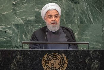 Le Président iranien Hassan Rouhani devant l'Assemblée générale des Nations Unies.