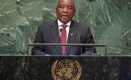 President Matamela Cyril Ramaphosa of South Africa addresses the seventy-third session of the United Nations General Assembly.