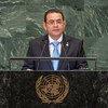 El presidente de Guatemala, Jimmy Morales, durante su intervención en el 73º periodo de sesiones de la Asamblea General de la ONU