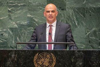 Alain Berset, Président de la Confédération suisse, s'exprimant lors du débat général de la 73e session de l'Assemblée générale des Nations Unies