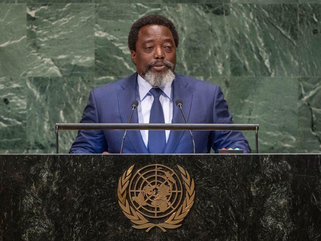 Le Président de la République démocratique du Congo, Joseph Kabila, à la tribune de l'Assemblée générale des Nations Unies.