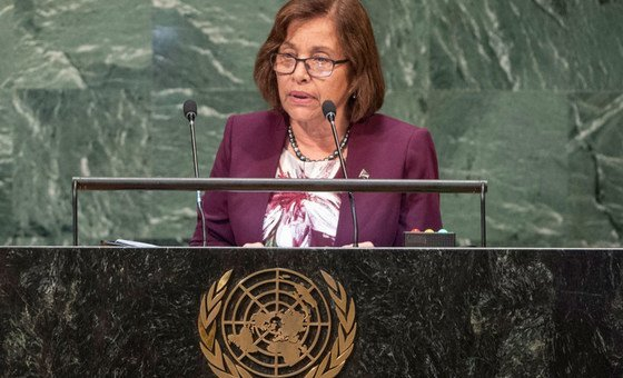 President Hilda Heine of the Republic of the Marshall Islands addresses the seventy-third session of the United Nations General Assembly.