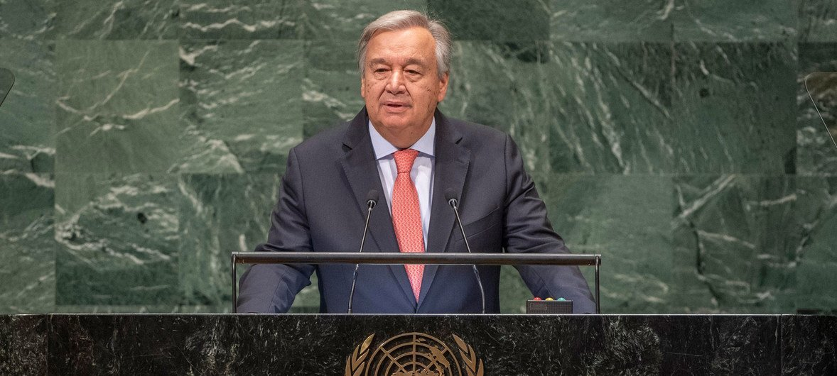 Secretário-geral, António Guterres, discursa na Assembleia Geral.
