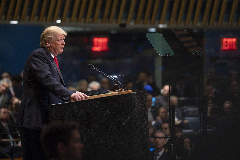 Rais wa Marekani Donald Trump akihutubia mjadala wa wazi wa baraza Kuu la Umoja wa Mataifa 25 Septemba, 2018