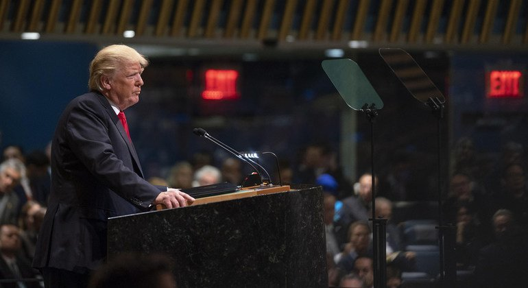 The US President Donald Trump addresses the general debate of the General Assembly on 25 September, 2018.