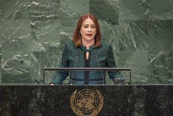 María Fernanda Espinosa Garcés;Rais wa kikao cha 73 cha Baraza Kuu la Umoja wa Mataifa , akizungumza wakati wa ufunguzi wa mjadala wa wazi wa Baraza hilo