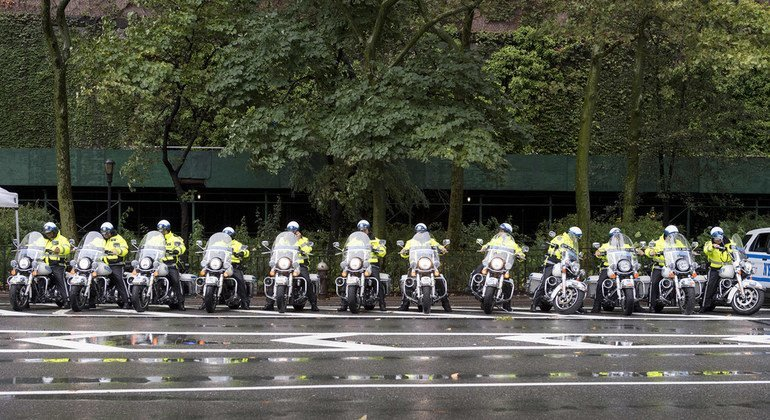 Officers of the New York Police Department line up on motorbikes outside the UN Secretariat on 1st Avenue in September 2018.
