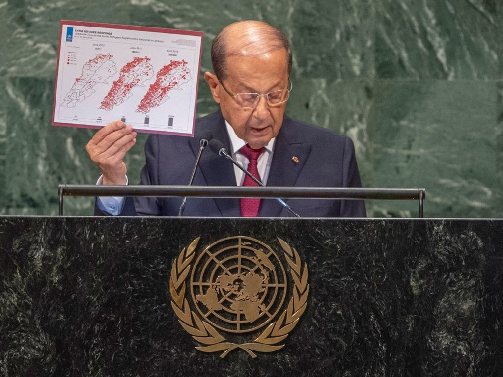 President Michel Aoun of the Lebanese Republic addresses the seventy-third session of the United Nations General Assembly.