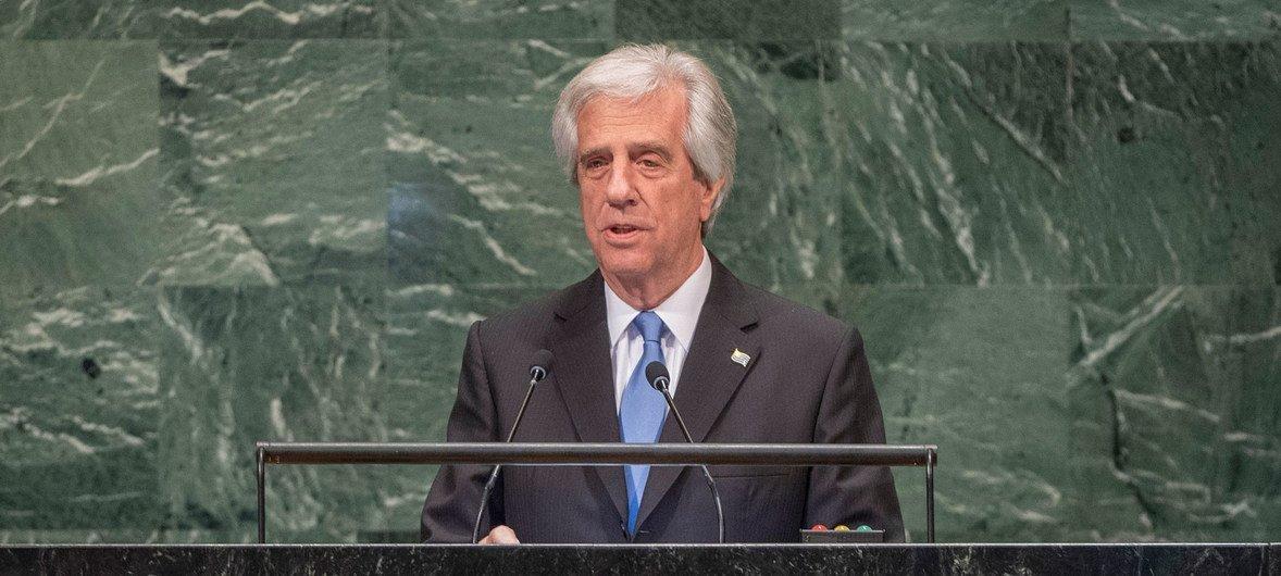 Em 2018, o então presidente do Uruguai, Tabaré Vázquez, discursa na Assembleia Geral das Nações Unidas.