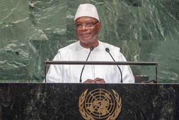 Le Président du Mali, Ibrahim Boubacar Keïta, devant l'Assemblée générale des Nations Unies.