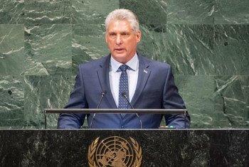 Miguel Díaz-Canel Bermúdez, Presidente del Consejo de Estado y Ministros de la República de Cuba, se dirige a la Asamblea General de las Naciones Unidas en su septuagésimo tercer período de sesiones.