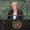 La Première ministre britannique, Teresa May, prend la parole à la 73e session de l'Assemblée générale des Nations Unies.