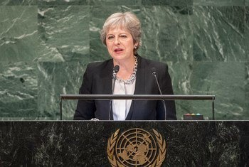 Prime Minister Teresa May of the United Kingdom of Great Britain and Northern Ireland addresses the seventy-third session of the United Nations General Assembly.
