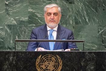 Le Chef de l'exécutif de l'Afghanistan, Abdullah Abdullah, devant l'Assemblée générale des Nations Unies.