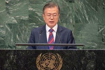 Le Président sud-coréen Moon Jae-in devant l'Assemblée générale des Nations Unies.
