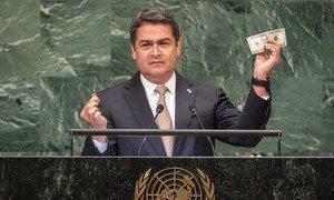 El presidente de Honduras, Juan Orlando Hernández Alvarado, se dirige a la Asamblea General.