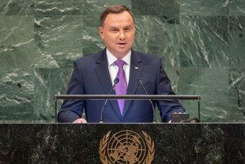 波兰总统杜达在联大第73届会议一般性辩论环节发言。