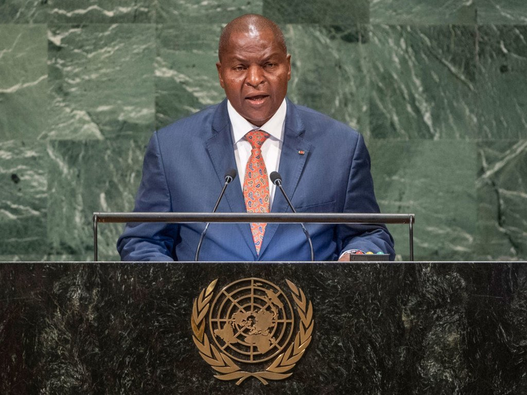 President Faustin Archange Touadera of the Central African Republic addresses the seventy-third session of the United Nations General Assembly.