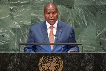 Le Président de la République centrafricaine, Faustin-Archange Touadéra, devant l'Assemblée générale des Nations Unies.
