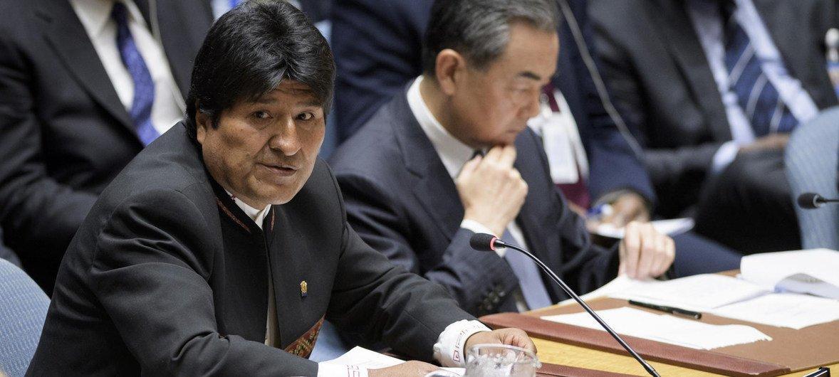 2018年9月26日,玻利维亚总统莫拉莱斯在安理会关于不扩散大规模杀伤性武器的高级别会议上发言。